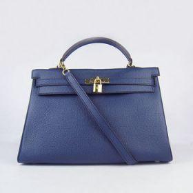 Hermes 35cm Kelly Dark Blue Togo Leather Handbag Golden Lock Buckle Copy Sale Online Office Lady