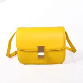 Summer Superdry Celine Shining Yellow Calfskin Flap Bag Ladies Brass Buckle Box Bag For Sale