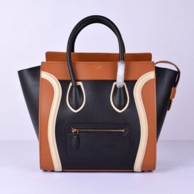 Celine Large Luggage Rounded Top-handles & Brass Zipped Outer Pocket Ladies Leather Colorblock Tote Black/Brown/White