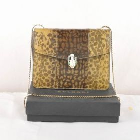 Imitation Bvlgari Serpenti Snake Veins Leather Yellow Gold Plated Chain Strap Flap Cover Shoulder Bag Apricot