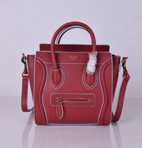 Women's Celine Timeless Style Small Luggage Baby Blue Detail Two Tubular Handles Red Leather Shoulder Bag
