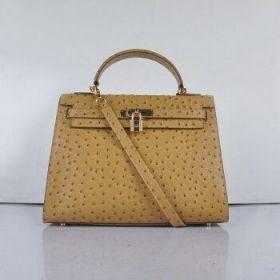Wholesale Hermes Kelly 32cm Apricot Ostrich Vein Leather Bag Golden Lock Lady Shoulder Strap Sydney