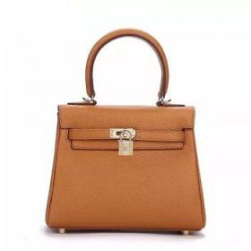 Hermes Kelly Women Vintage Light Coffee Togo Leather 25cm Bag Golden Lock Online Store US