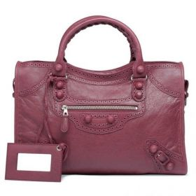 Street Style Balenciaga Cassis Lambskin Giant City Buckle Trimming Silver Zipper Pocket Ladies Brogues Shoulder Bag
