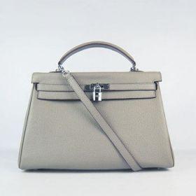 Hermes Kelly Khaki Togo Leather Handbag Silver Buckle Stylish Style 35cm Top Handle Christmas Gift