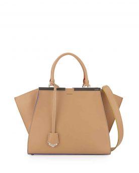 High-quality Fendi Trois-Jour Beige Leather Medium Satchel Bag Black Enamelled Bar Wide Shoulder Belt