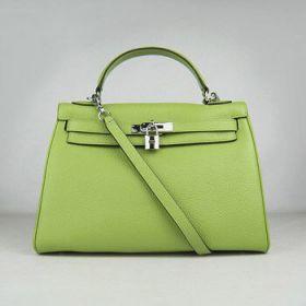 Hermes Kelly Green Togo Leather Handbag Silver Padlock 32cm Summer Style Kristin Cavallari NYC