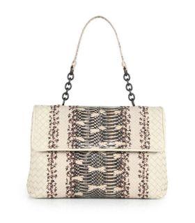 Bottega Veneta Olimpia Chain-accented Handle Snap Flap Closure Olimpia Natural Intrecciato Leather Tote Bag Womens