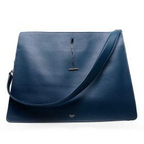 Good Reviews Celine Link Turn-lock Closure Silver Logo Print Womens Dark Blue Tote Bag Shop Online