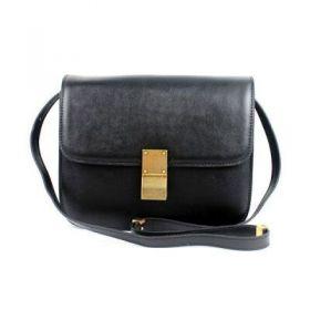 2018 Fall & Winter Celine Classic Box Medium Black Smooth Leather Brass Clasp Closure Flap Bag 164173DLS.38NO