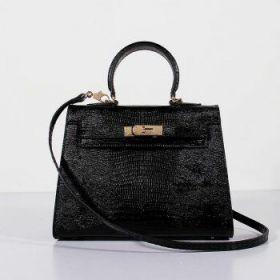 Hermes Kelly 28cm Black Lizard Leather Bag Sexy Style Golden Lock Shoulder Strap Valentine Gift