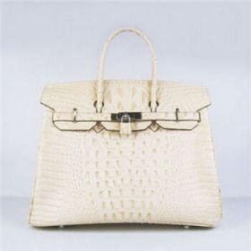 Top Sale Hermes Birkin Beige Crocodile Head Vein Handbag 30cm Silver Buckle Dating Gift Women