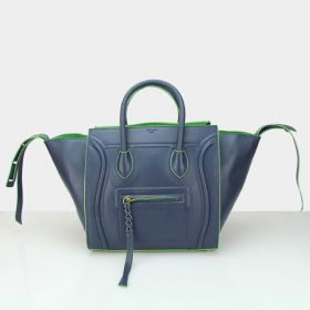 Unique Style Celine Luggage Phantom Green Edging Motif Strap Trimming Navy Blue Smooth Leather Female Tote