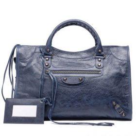 Cheapest Balenciaga Classic City Front Zipper Pocket Hand Stitched Handles Dark Blue Leather Womens Handbag 115748D94JT1000