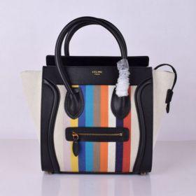 Unique Celine Luggage Brass Zipper Outer Pocket Black Leather & Multicolor Pucksuck Striped Ladies Medium Tote Bag
