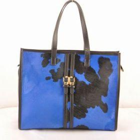 Top Sale Fendi Pequin Black Ferrari Leather Thin Handle Black/Blue Cowhair Leather Tote Bag UK