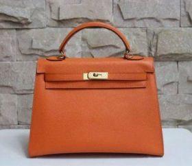 Hermes Kelly 32cm Retro Orange Epsom Leather Handbag Golden Buckle Replica Online Malaysia Lady