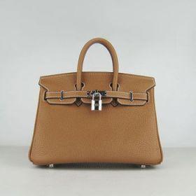 Hermes Birkin Light Coffee Cowhide Leather 25cm Handbag Silver Buckle Vintage Style Sale America