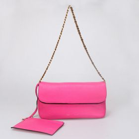 Top Style Celine Gourmette Brass Hardware Double Flat Top Peach Ferrari Leather Ladies Chain Shoulder Bag