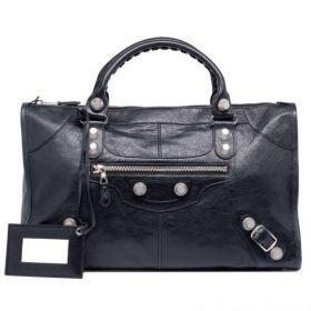 New Arrival Balenciaga Black Lambskin Giant 21 Silver Buckle & Belt Detail Ladies Work Lambskin Tote Bag
