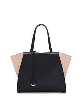 Fendi Trois-Jour Black Leather Shopping Tote Bag Nude Wings Spring Collection Price In USA