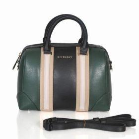 Cheapest Givenchy Lucrezia Beige Trim Band Female Small Green & Black Leather Zipper Boston Bag