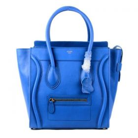 Hot Selling Celine Large Luggage Yellow Gold Hardware Winding Trimming Blue Smooth Leather Purses For Womens