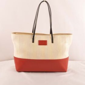 Knockoff Fendi Pequin Beige Striped Linen Tote Bag With Red Leather Dating Gift Women Sale