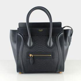 Celine High End Luggage Snake Leather Detail Yellow Brass Hardware Ladies Medium Top-handle Tote Bag Black