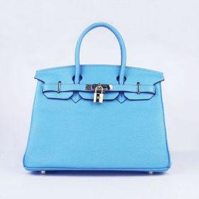 Hot Sale Hermes Birkin Light Blue Togo Leather Handbag 30cm Golden Lock & Key Easy Journey Women