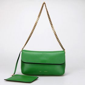 Celine Gourmette Brass Shoulder Strap Fold-over Opening Womens Ferrari Leather Flap Purse Bag Green Replica