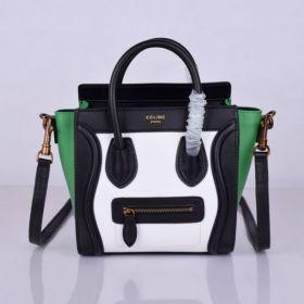 Good Quality Celine Luggage Tri-color Nano Brass Zipper Top Womens Leather Tote Bag Black/White/Green