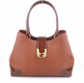 Fendi Chameleon Coffee Ferrari Leather Crocodile Veins Leather Tote Bag Classic Style Top Handle
