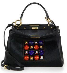 Replica Fendi Peekaboo Black Leather & Mink Fur Mini Studded Bead & Square Trim Satchel Bag Personalized Lady