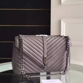 Large Saint Laurent College Monogram Zipper Compartment Fashion Grey Goatskin Womens Quilted Chain Bag 392738CTR041258