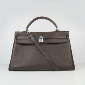 Hermes Kelly 35cm Dark Coffee Togo Leather Handbag Silver Buckle Shoulder Belt Online Shopping NYC