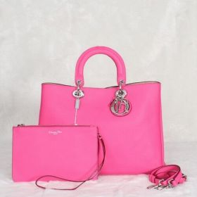 Grade 1. Christian Dior Diorissimo magenta Leather Tote Bag Litchi Texture USA Price On Sale