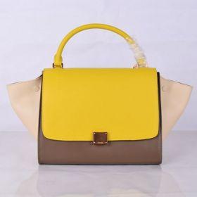Spring Womens Celine Large Trapeze Beige Snap-button Wingspan Satchel Flap Female Leather Purses Yellow/Khaki