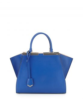 Best Quality Replica Fendi Trois-Jour Cobalt Blue/Nude Leather Mini Tote Bag Gray Enamelled Bar