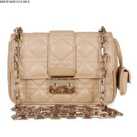 Miss Dior Apricot Leather Cannage-design Flap Shoulder Bag Sale Office Lady  Golden- Metal-Chain Strap