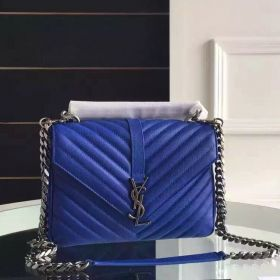 "YSL Medium Silver Chain Strap ""Y"" Matelasse Stitching Blue Goatskin Leather Flap Monogramme College Bag Online 428056BRM044318"