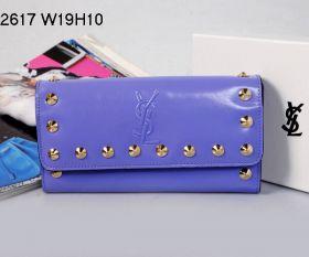 YSL Purple Leather Central Interior Zipper Compartment Golden Studs Ladies Long Flap Wallet Replica