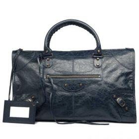 Balenciaga Female Retro Classic Work Front Zipper Pocket Tubular Double Handles Dark Night Zipper Shoulder Bag