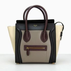 Celine Luggage Popular Wine  Handles & Zipper Pocket Ladies Medium Wine/White Colorblock Leather Fake Tote Bag