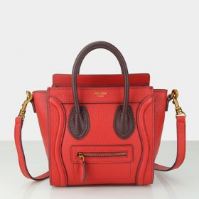 Small Celine Luggage Wine Leather Detail Brass Zipper Pocket Ladies High-end Red Grained Leather Tote Bag