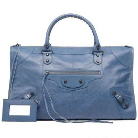 Good Quality Balenciaga Female Work Hand Stitched Rounded Handles Brass Buckle Ladies Studs Tote Bag