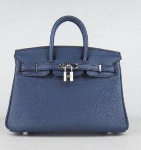 Wholesale Hermes Birkin Dark Blue Leather Silver Lock 25cm Handbag Women Birthday Gift Malaysia