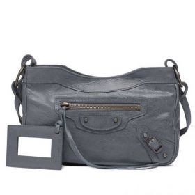 Retro Balenciaga Female Hip Old Brass Studs Trimming Leather Belts Motif Gris Tarmac Shoulder Bag Sell
