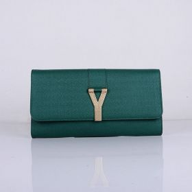 Good Price Yves Saint Laurent Green Leather Antique Gold-toned Y-shaped Buckle Womens Long Wallet