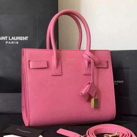 Saint Laurent Baby Sac De Jour Adjustable Side Belt Yellow Gold Padlock Female Pink Leather Totes